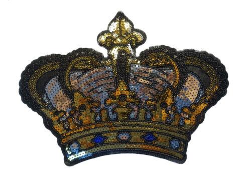 23x17cm PAILLETTEN KRONE APPLIKATION BÜGELBILD GOLD PATCH CROWN SILBER BLAU BUNT