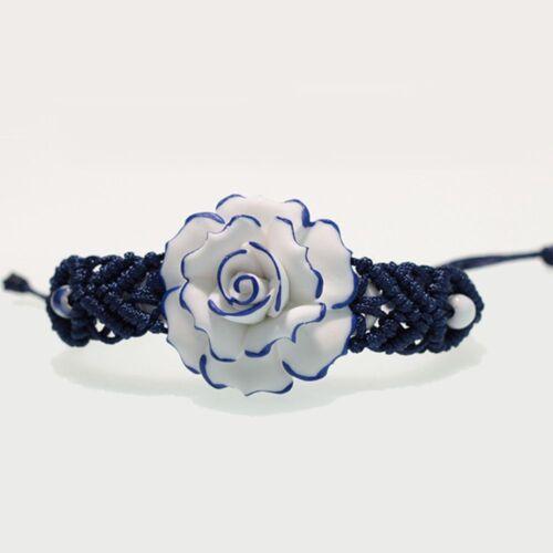 Porcelaine Bleu et Blanc Céramique tissés Bracelets Réglable Fleur Rose