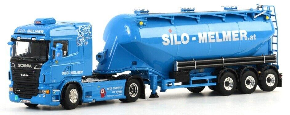 WSI01-1273  - Camion 4x2 SCANIA R6 Highline avec semi silo 3 essieux aux couleurs  branché