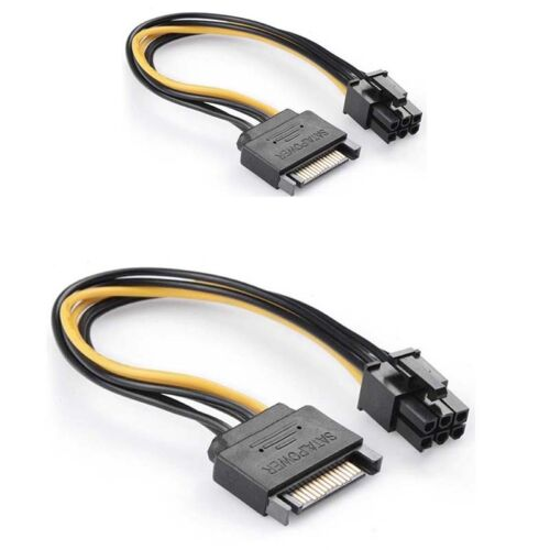 10pcs SATA Male Power 15 Pin to PCI Express Card Power Cable Adapter 6 pin