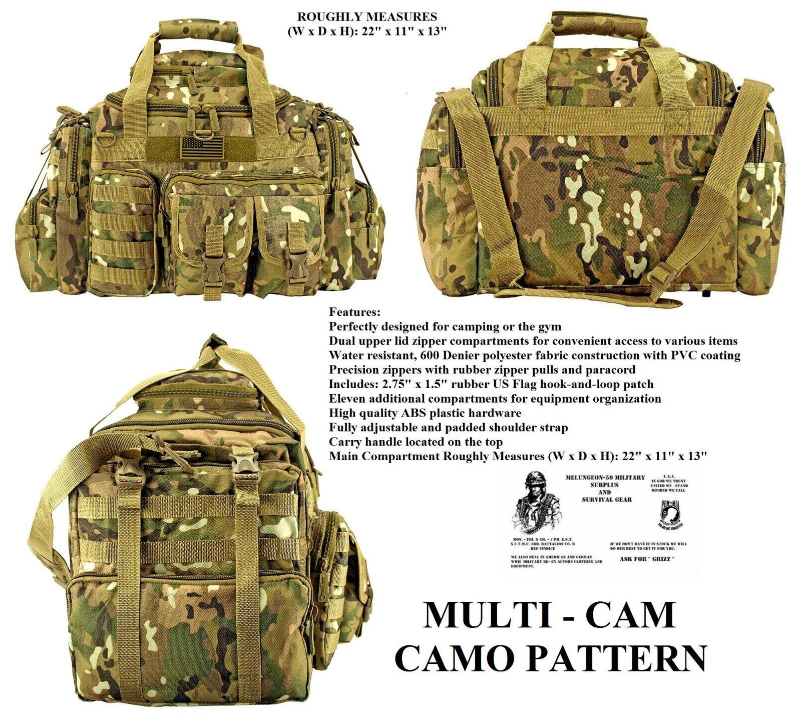 The Humvee Duffel Bag + Free  Surv.Bracelet -Tactical Military Survival  MULTICAM  the classic style