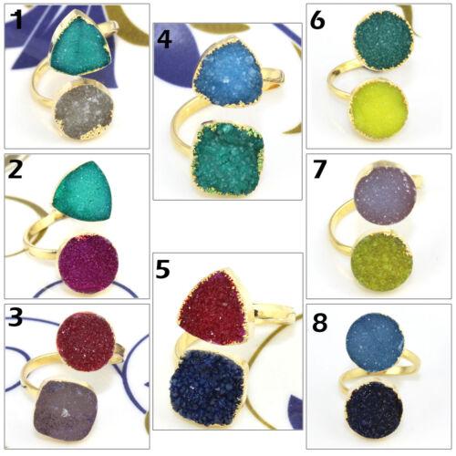 Coloré Naturel Agate Druzy Gold GALVANISE Réglable Bague Femmes Bijoux