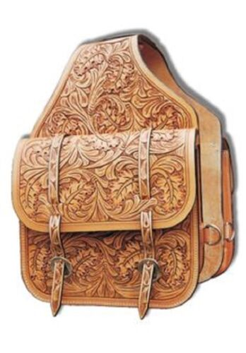 Western Natural Leather Hand Carved Saddle Bag with Silver Engraved conchos