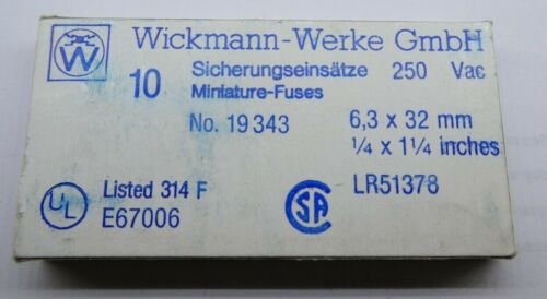 171 250 V AC 1Stück WICKMANN FEINSICHERUNG 19343 Fuse T 2 A Träge 6,3x32