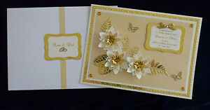 golden 50th wedding anniversary card wife husband mum dad handmade
