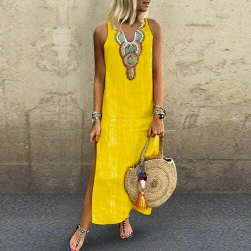 US Women Printed Sleeveless V-neck Maxi Dress Split Hem Baggy Kaftan Long Dress