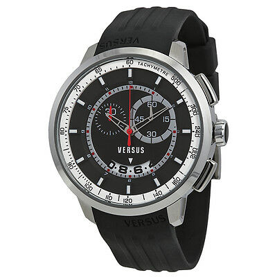Versus by Versace Manhattan Chronograph Black and White Dial Black Rubber Mens