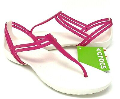 Crocs Isabella T-Strap Sandals Womens Size 8 Pink Berry//Oyster NEW W// TAGS