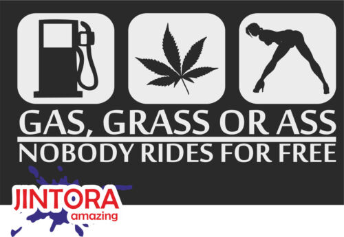 210x98 mm Sticker // Car Decal gas grass or ass White Tuning LAP 1008 JDM