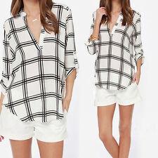 Sexy Women Fashion V Neck Tops Tee Long Sleeve Shirt Casual Blouse Loose T-shirt