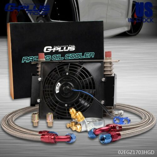 """Gplus 15 Row Thermostat Adaptor Engine Transmission 10AN Oil Cooler 7/"""" Fan"""