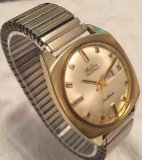 Vintage Automatic Working MuDu 25 Jewels Doublematic Gold Plate Swiss Wristwatch