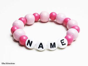 baby kinder armband holz perlen din en 71 3 namen taufe geburt namens m dchen. Black Bedroom Furniture Sets. Home Design Ideas