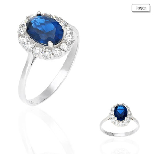 14k White Gold Oval Blue And Round White Sapphire Engagement Halo Ring