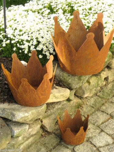 Gartendeko Edelrost Krone 15 cm Durchmesser  Garten Schale Dekoration Rost Deko