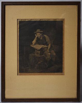 Paul Lerat - Antique Framed Etching - Man Reading Newspaper - Le XIX me Siecle