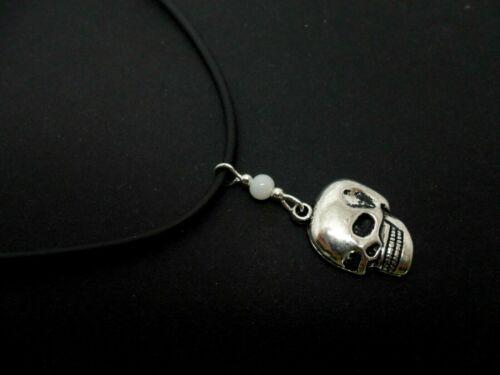 """nuevo. Un cable de goma negra calavera con temática de 13-14/"""" Gargantilla Collar"""