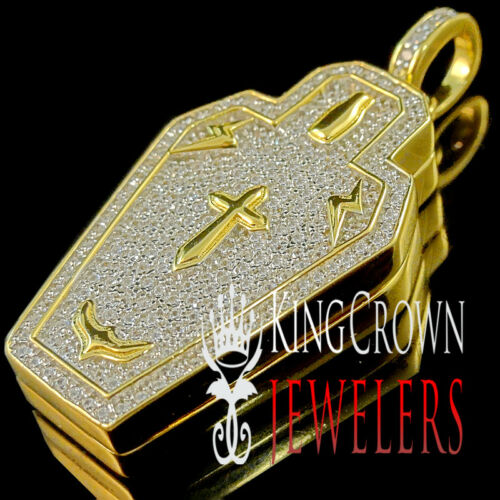 10K Yellow Gold On Pure Silver Simu Diamond Casket Pendant RIP Coffin Box Charm