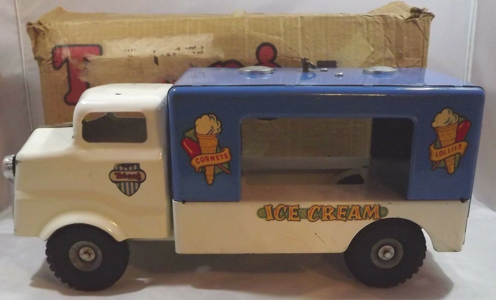Vintage Boxed 1960s Triang Junior Diesel Series Tin-Plate Ice Cream Van w. Music