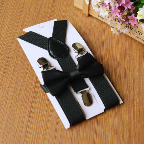 2PCS Suspenders And Bow Tie Combo Set Mens Braces Matching Fancy Wedding Party