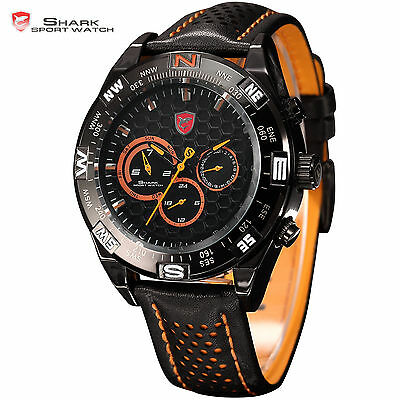SHARK Men's Sport Army Date Day Display Leather Quartz Analog Wrist Watch