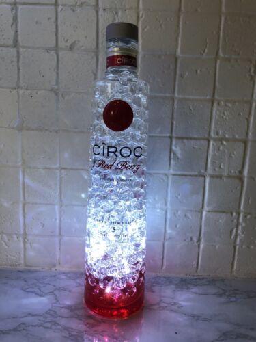 Lampe de table Jusqu /'en cyclage DEL Rouge Blanc Berry ciroc Bottle Light esprit bouteille