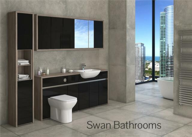 DRIFTWOOD / BLACK GLOSS BATHROOM FITTED FURNITURE WITH WALL UNITS 2200MM
