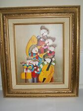 Joyce Roybal  oil Painting Children Playing instrument Framed Canvas Art Signed