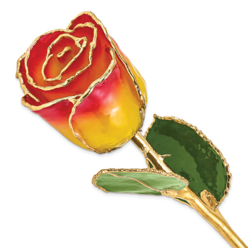 Lacquer Dipped Gold Trim Yellow Red Rose GP9355