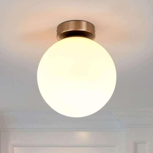 Deckenleuchte Lennie Bad Glasschirm Bauchig Weiß Deckenlampe Lampenwelt Kugel
