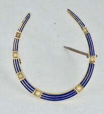 Vintage Art Deco 14K Yellow Gold Blue Enamel Horseshoe Brooch w/Seed Pearls 3 GR