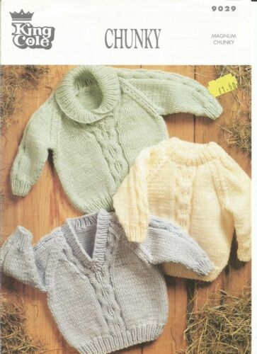 Lovely chunky knitting pattern for child/'s sweaters in sizes 18-28 inches