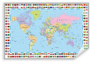 Postereck-Poster-0609-Politische-Weltkarte-mit-Flaggen-Laender-Kontinente