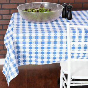 25 Yard Roll Blue White Checkered Vinyl Table Cloth Cover