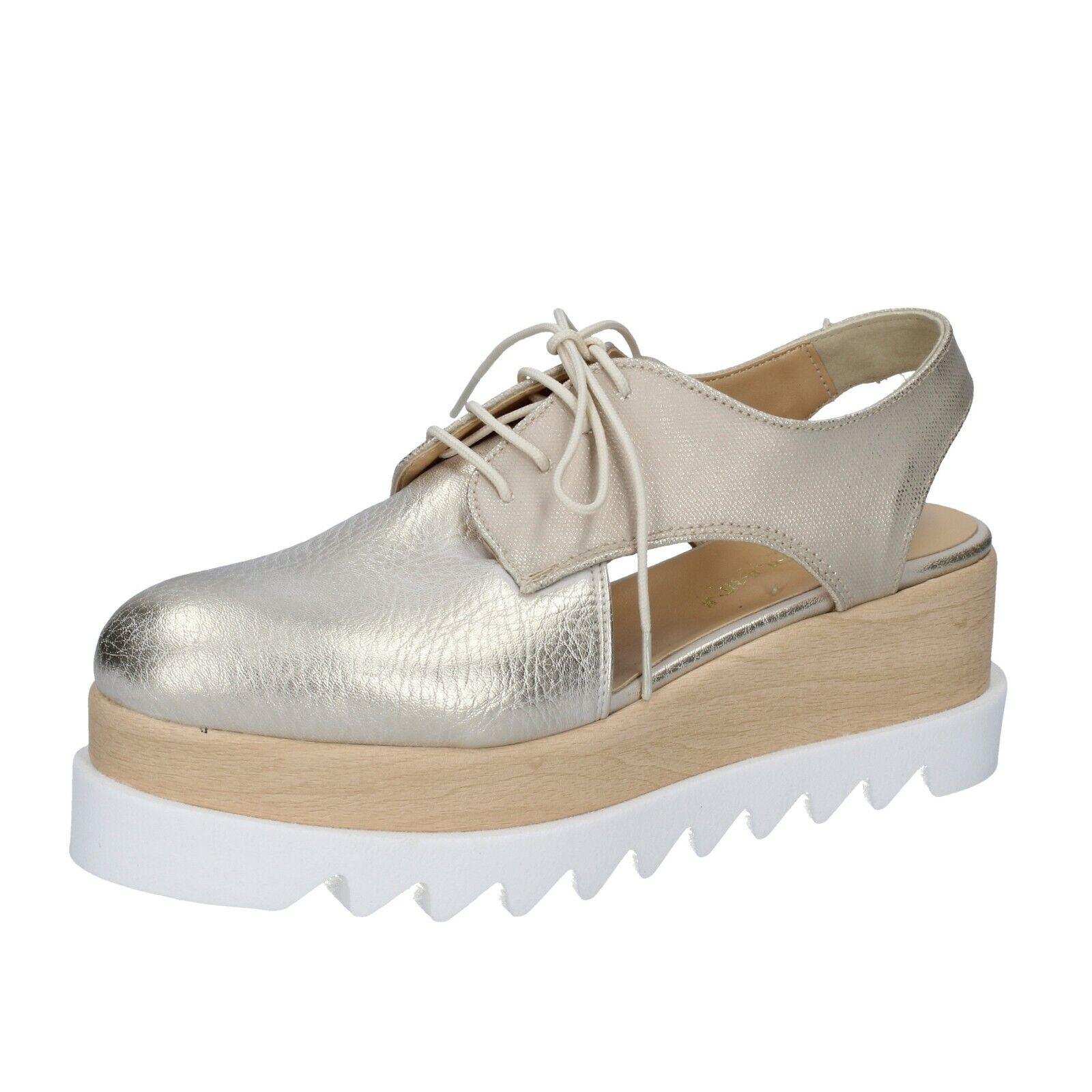 Chaussures Femmes Olga Rubini 35 UE élégante Platine Cuir bs377-35