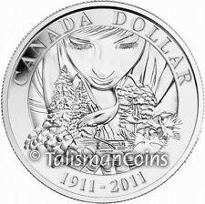 2011 Parks Canada Centennial 100th Anniversary Whooping Crane Silver $1 P/L BU