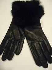 Ladies Fur Cuffed Genuine Leather Gloves, XL, Black