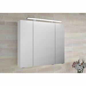 Badezimmerspiegel Mit Steckdose.Badezimmer Spiegelschrank Led 80cm Weiss Badspiegel Badezimmerspiegel Steckdose Ebay
