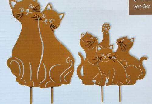 Gartenstecker 5 Katzen NEU aus Metall in rost braun Katzenfamilie