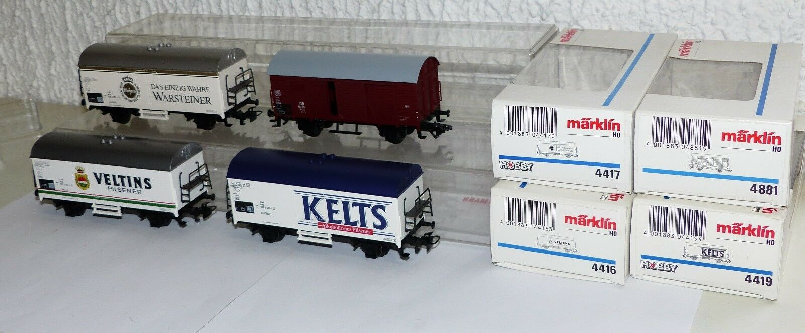 4x Märklin Goods Wagons  4416, 4417, 4419, 4881 BREAKING, Kelts, Warsteiner... Boxed