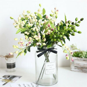 1X-Artificial-Plant-Berry-Flower-Fake-Olive-Fruit-Bean-Branch-Flowers-Home-Decor