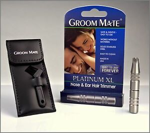 Groom-Mate-Platinum-XL-Nose-amp-Ear-Hair-Trimmer-w-Pouch-amp-Brush-Made-is-USA