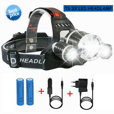 USB Ladekabel Profi LED Stirnlampe Kopflampe 18650 Akku 90000LM 5x XM-L T6 Inkl