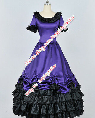 Victorian Southern Belle Period Graceful Dress Purple Satin Ball Gown Costume