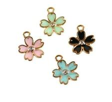 12pcs cherry blossom color mix Metal Charms pendants DIY Jewellery Making crafts