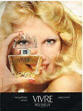 """Publicité Advertising 1974 Parfum """"Vivre"""" par Molyneux"""
