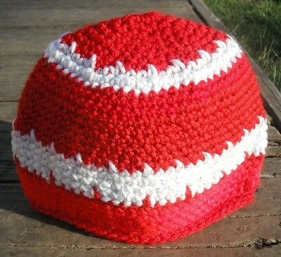 Red and White Contrast Infant Beanie - Handmade by Michaela