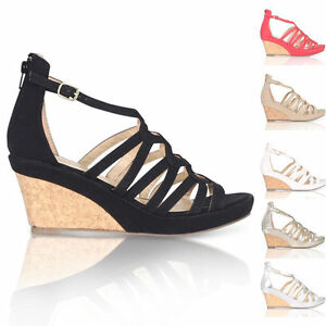 SUMMER-PLATFORM-WEDGE-HOLIDAY-WOMEN-039-S-SANDALS-CUT-OUT-GLADIATOR-SHOES