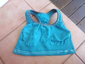 LADIES-CUTE-TURQUOISE-SPORTS-BRA-SLEEVELESS-TOP-BY-CHAMPION-SIZE-M-AUS-8-10