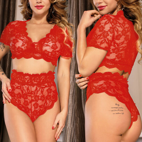 Red Lace Floral Wireless V Crop Top /& Booty Shorts Lingerie Underwear M-5XL US